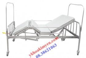 Giường y tế  inox 2 tay quay rộng 1,2 mét